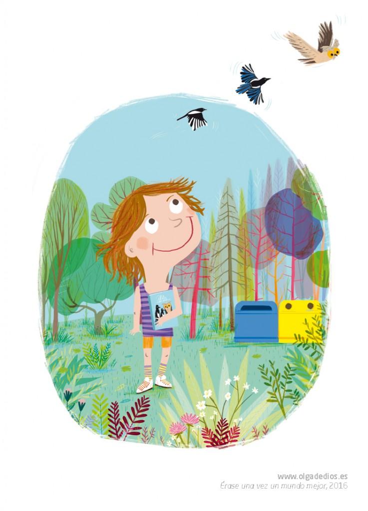 """Ilustración de Olga de Dios para el libro """"Érase una vez un mundo mejor"""", 2016. Certamen Los profes cuentan. Un proyecto solidario de Ecoembes que recauda fondos para Aldeas Infantiles."""