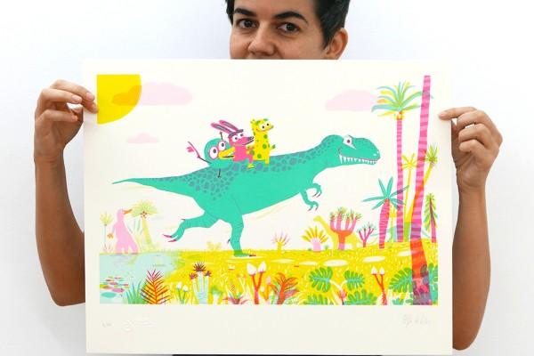 De viaje en Tyrannosaurus, 50 x 30 cm.