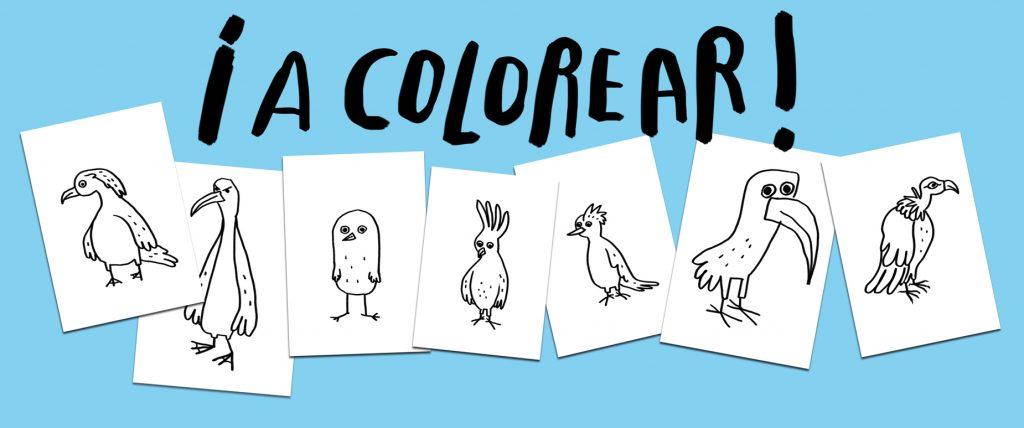 coloreables, aves, pajaros, infantiles, pajaro amarillo, monstruo rosa, olga de dios