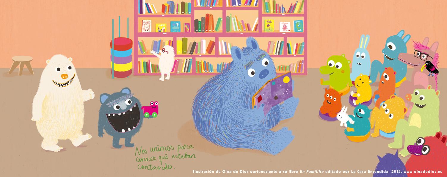 """Ilustración de Olga de Dios para su libro """"En Familia"""" editado por La Casa Encendida, 2015."""